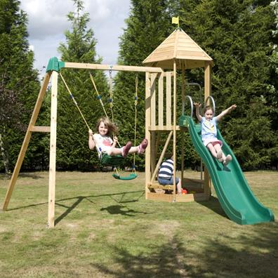 TP Castlewood Tower with Crazy Wavy Slide and Double Swing from our children's Climbing Frames range