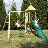 TP Castlewood Tower with Crazy Wavy Slide and Double Swing from our children's Wooden Climbing Frames range