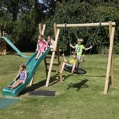 Langley Double Swing with ladder, platform and slide from our children's Swings with Climbing Frames range