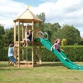 TP Castlewood Tower with Crazy Wavy Slide from our children's Wooden Climbing Frames range