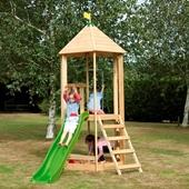 TP Castlewood Tower with Wavy Slide from our children's Wooden Climbing Frames range