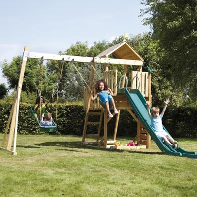 TP Kingswood2 Tower and Swing Arm with Rapide Slide from our children's Climbing Frames range