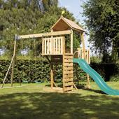 TP Kingswood2 Tower and Swing Arm with Crazy Wavy Slide from our children's Wooden Climbing Frames range