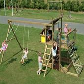 Houtland Adventure Tower with slide and double swing from our children's Wooden Climbing Frames range